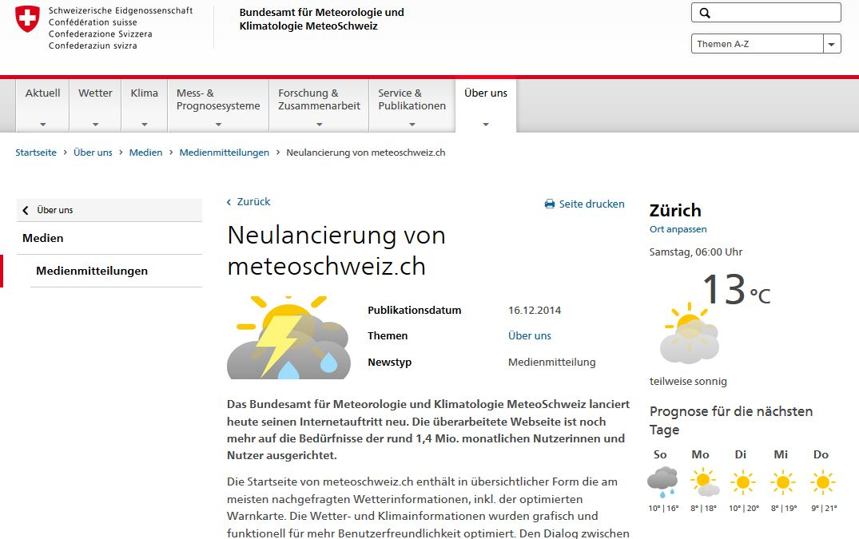 Meteoschweiz Webauftritt Thomas Schenk